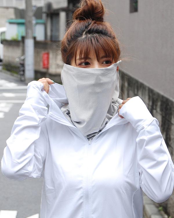 shanti / 【冷感フェイスガード・スポーツマスク におすすめ】濡らしてひんやりUVケアネックカバー / ネイビー