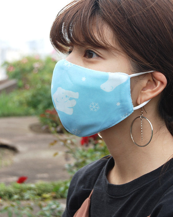 【価格改定】shanti / 冷感オリジナルマスク シロクマブルー