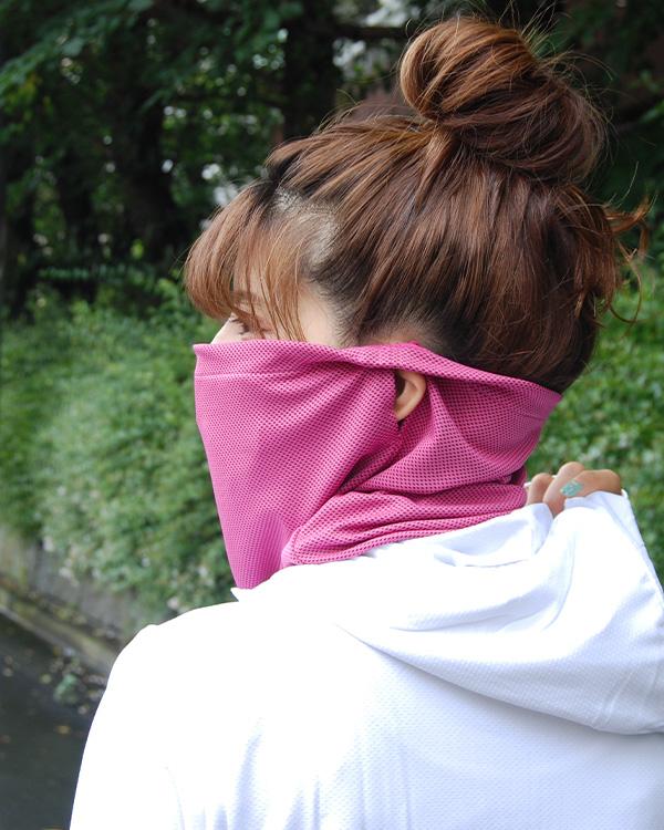 shanti / 【冷感フェイスガード・スポーツマスク におすすめ】濡らしてひんやりUVケアネックカバー /  ピンク