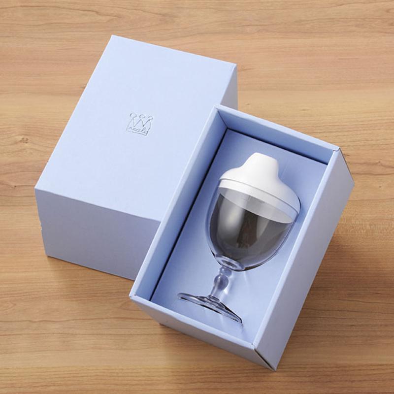 【日本製竹配合プラスチック・ベビー・キッズ食器】 Reale レアーレシリーズ ワイングラス型カップ/ ソムリエ スパウト色・白(飲み口キャップ)