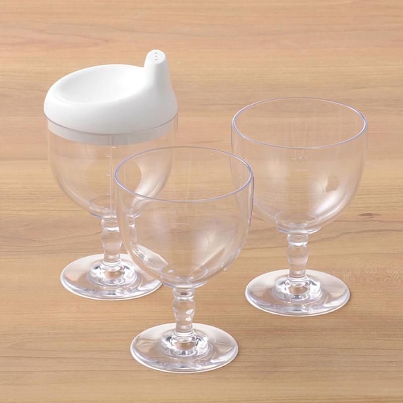 【日本製竹配合プラスチック・ベビー・キッズ食器】 Reale レアーレシリーズ ワイングラス型カップ/ ソムリエ スパウト色・ピンク(飲み口キャップ)