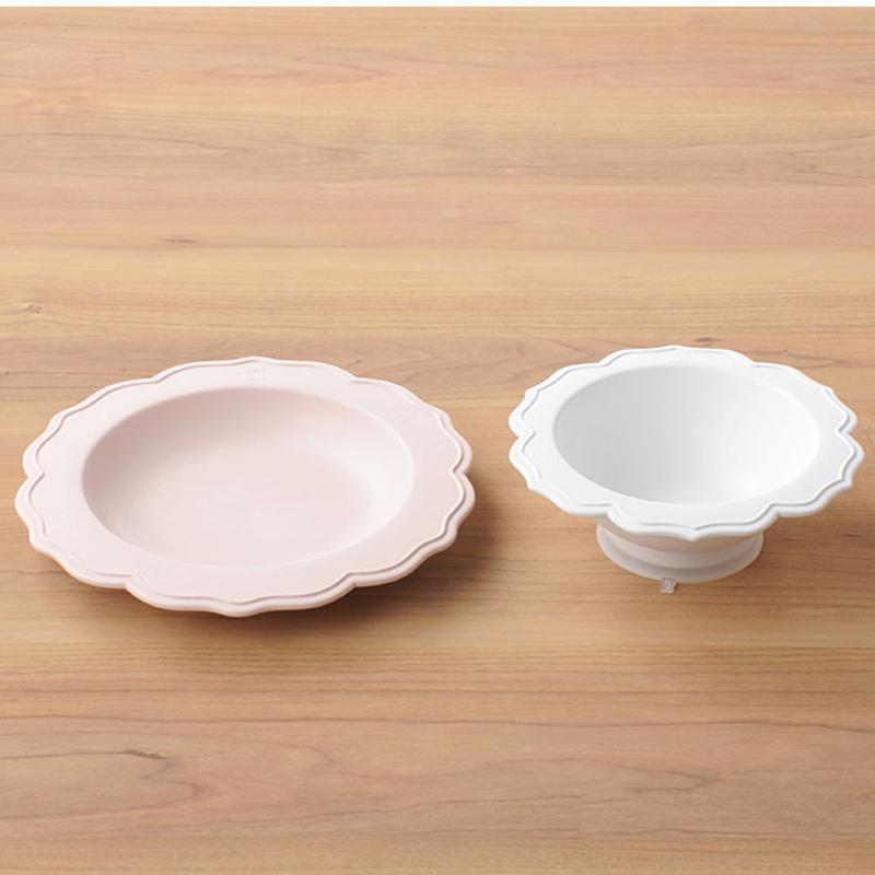 【日本製竹配合プラスチック・ベビー・キッズ食器】 Reale レアーレシリーズ ボウル&ピンク小皿/ シェフセット 吸盤付き