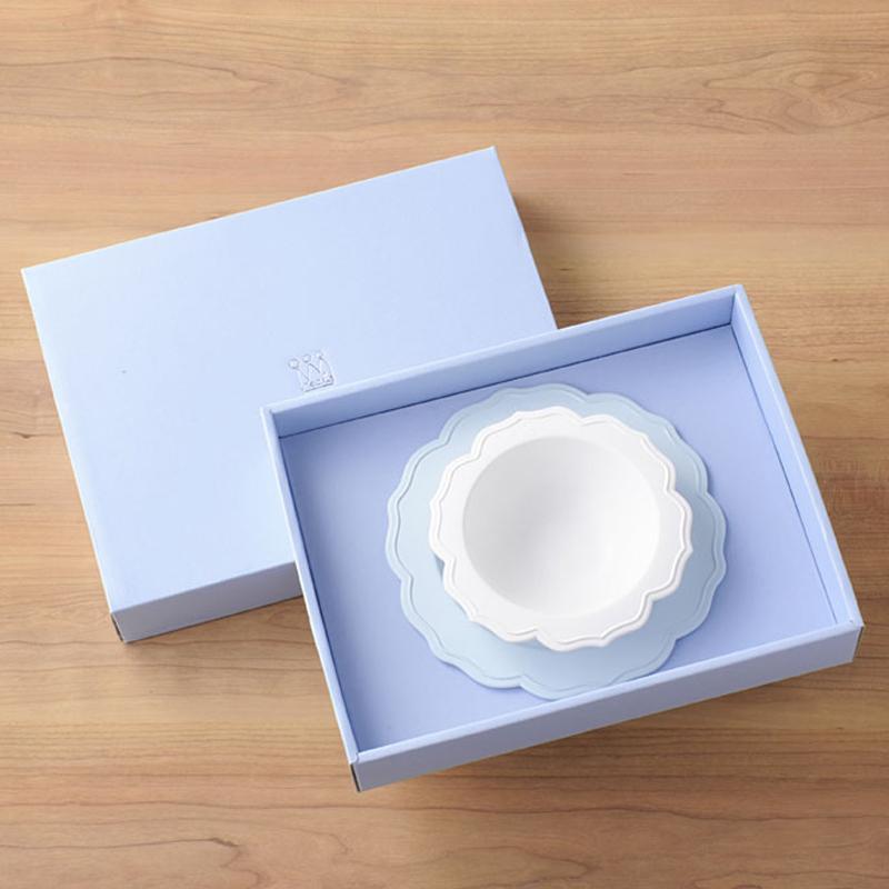 【日本製竹配合プラスチック・ベビー・キッズ食器】 Reale レアーレシリーズ ボウル&ブルー小皿/ シェフセット 吸盤付き