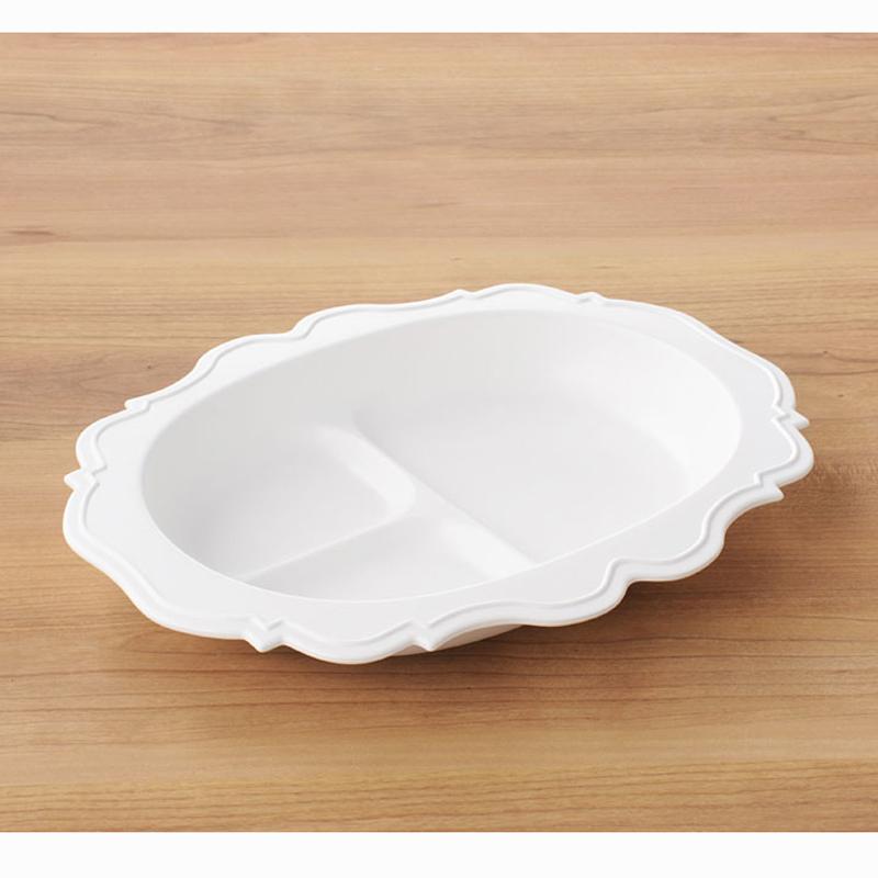 【日本製竹配合プラスチック・ベビー・キッズ食器】 Reale レアーレシリーズ ・フルセット(5点セット)・ホワイト