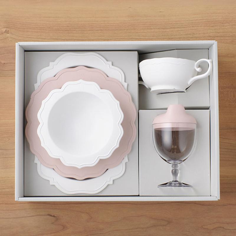【日本製竹配合プラスチック・ベビー・キッズ食器】 Reale レアーレシリーズ ・フルセット(5点セット)・ピンク