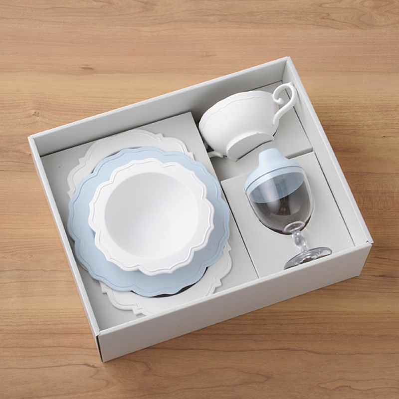【日本製竹配合プラスチック・ベビー・キッズ食器】 Reale レアーレシリーズ ・フルセット(5点セット)・ブルー