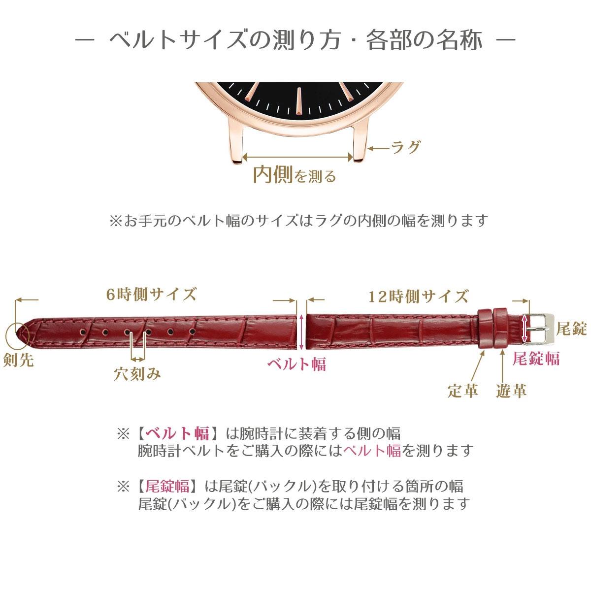 10mm 腕時計ベルト ロワール 牛革クロコ型押し フランス製