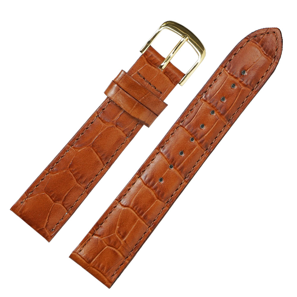 16mm 腕時計ベルト ロワール 牛革クロコ型押し フランス製
