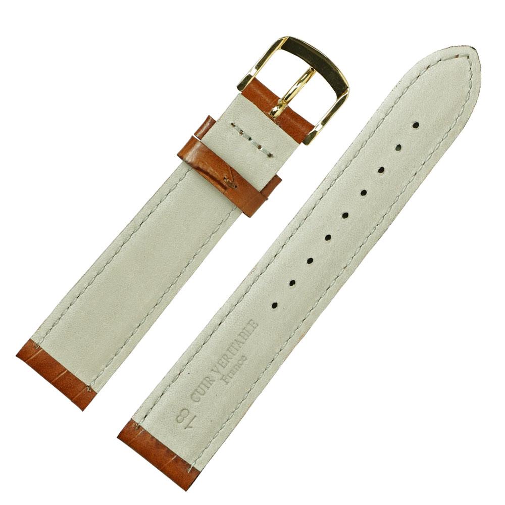 18mm 腕時計ベルト ロワール 牛革クロコ型押し フランス製