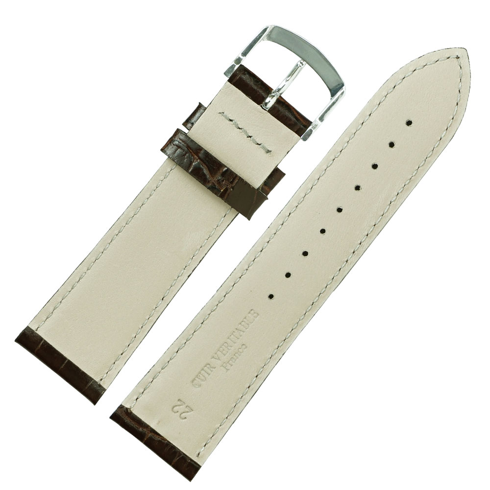 22mm 腕時計ベルト ロワール 牛革クロコ型押し フランス製