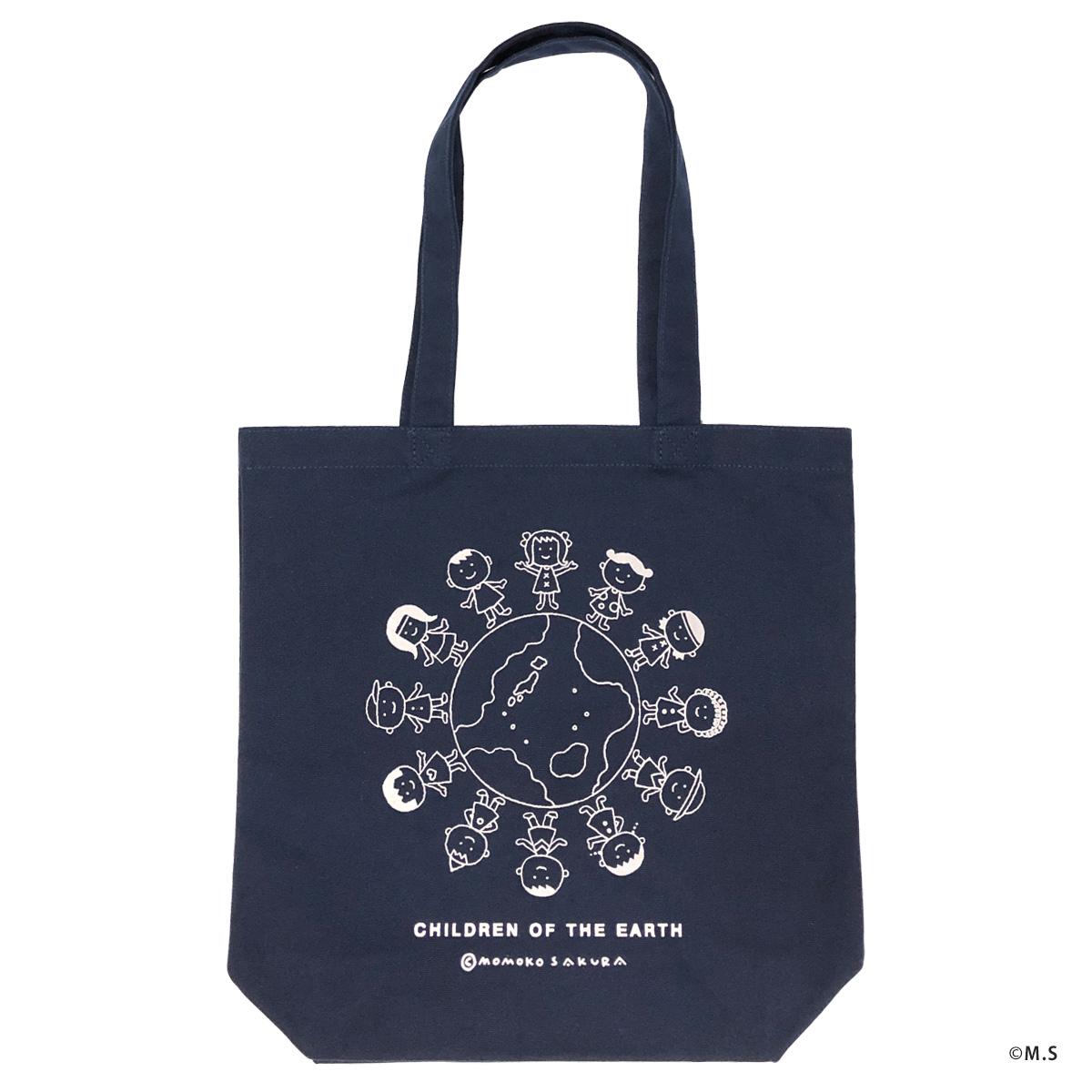 トートバッグ さくらももこ デザイン 「地球の子供たち」 キャンバス地 送料無料