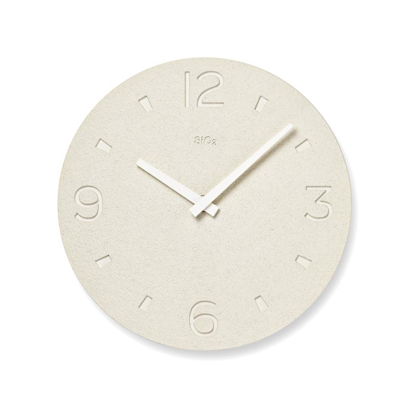 珪藻土の時計(掻き落とし仕上げ) / ホワイト(NY21-03 WH)