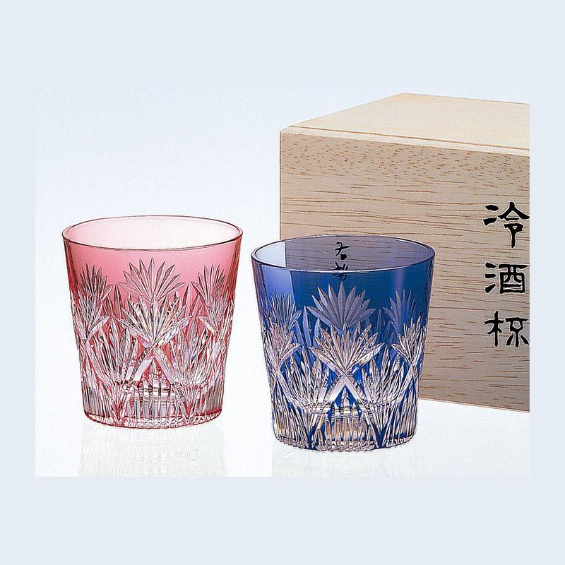 【グラス】江戸切子 ペア冷酒杯<笹っ葉に斜十文字紋>