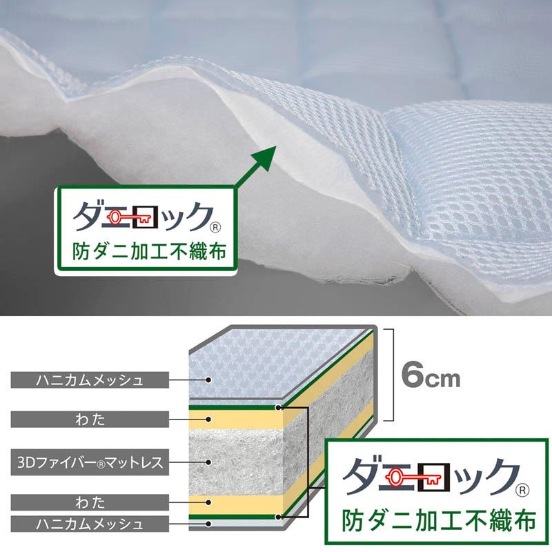 【マットレス・セミダブル】テクノラボ×KINCHO 防ダニ加工 3折れマットレス