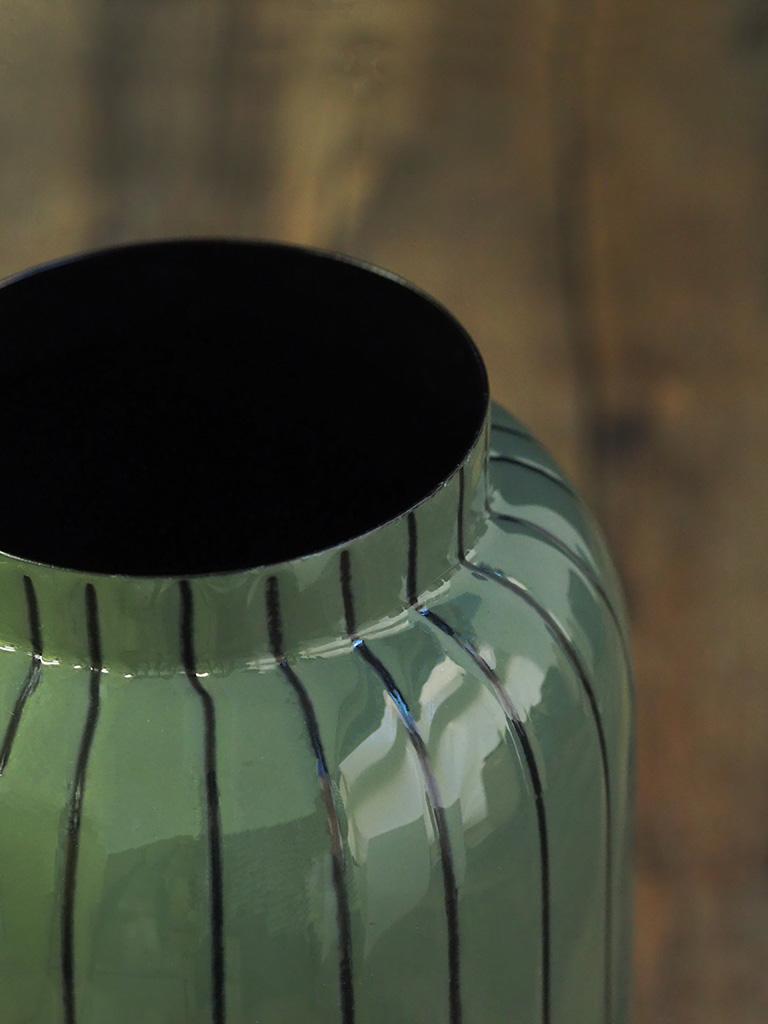 【WAIBEL collection】フラワーベース -花瓶-|アンティークオリーヴ×ストライプ|数量限定