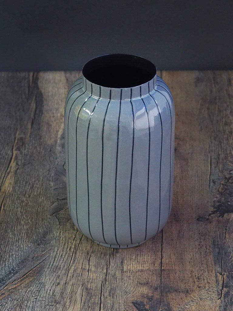 【WAIBEL collection】フラワーベース -花瓶-|ダークグレー×ストライプ|数量限定