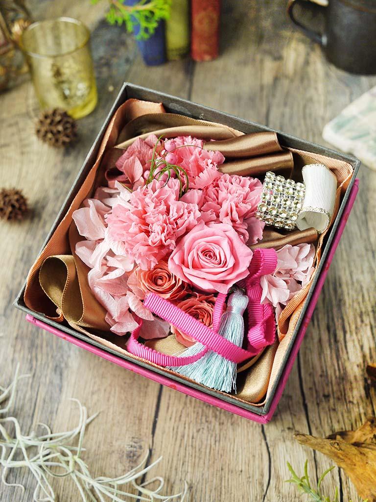 【母の日オンライン限定商品】BOXプリザーブドフラワー [ローズ]×プティデコクッキー セット|数量限定