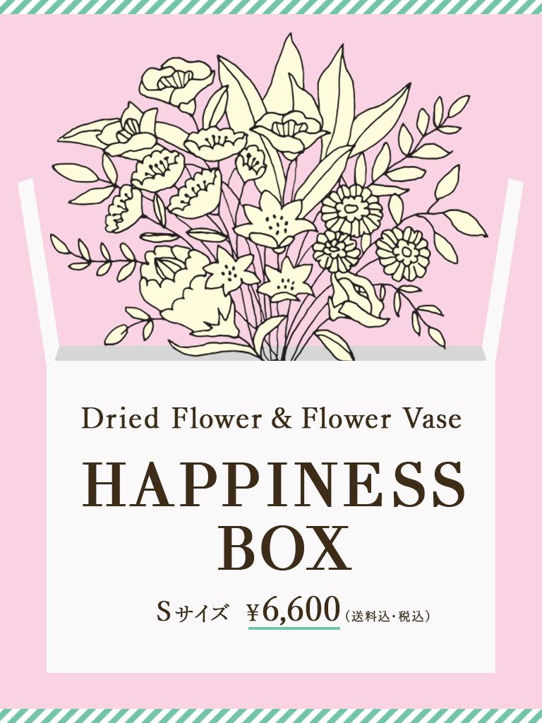 【数量限定】HAPPINESS BOX -Spring Ver.-|ドライフラワー&フラワーベース セット|Sサイズ|送料込*