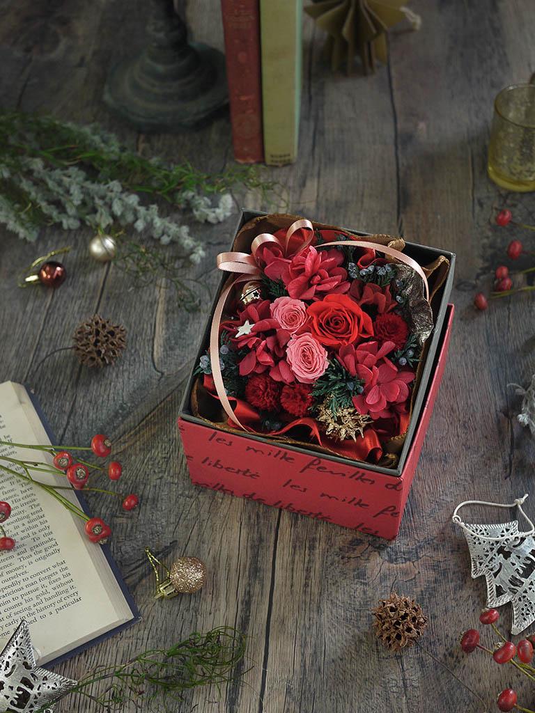 【クリスマス限定商品】プリザーブドフラワー|レッド系