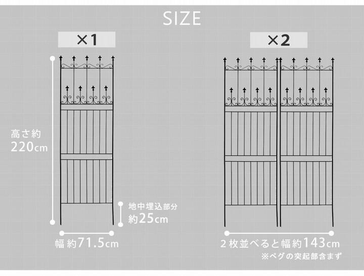 アイアンフェンス オールドシャトーフェンス220 ハイタイプ 2枚組 ブラック OC001H-2P-BLK ※北海道+1100円