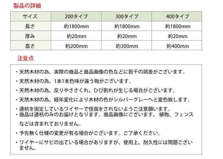 長持ちハードウッド 木製DIY連杭(エッジング・見切) 高さ200mmタイプ 長さ1800mm (約5kg)