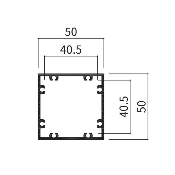 アルミ支柱50角 養生シール付 t1.5mm 50×50×100〜1000mm