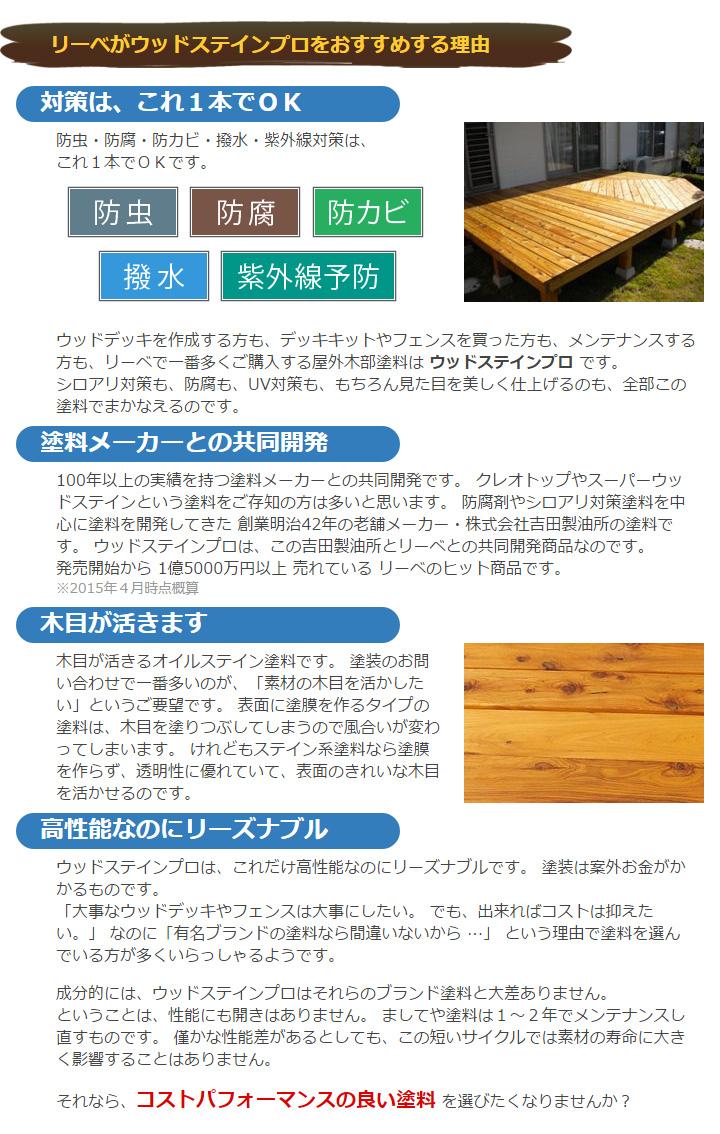 木材 保護塗料 ウッドステインプロ 4L クリア 【ウッドデッキ キット 木材 木部 防腐に】