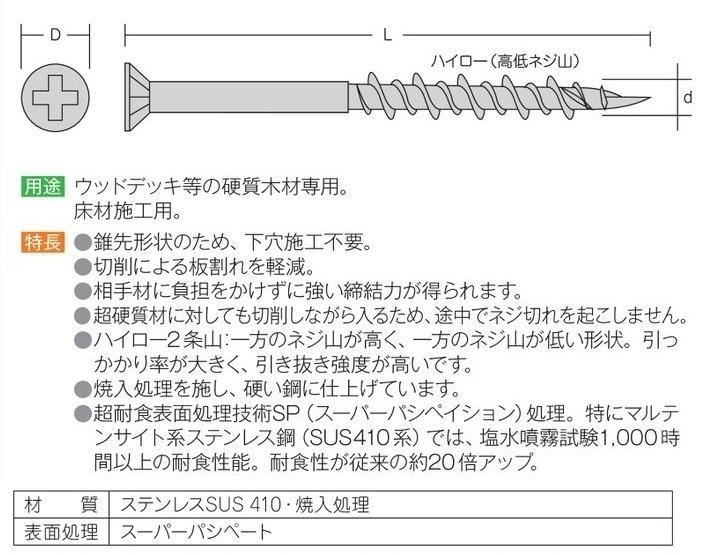 硬質木材用ビス 錐込隊長 5.2(径)×90(長さ)mm (100本入) ブロンズ色 [SUS410]