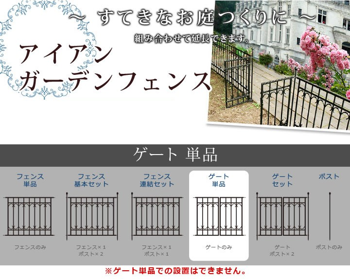 [オプション] アイアンフェンス パークアベニュー用ゲート ブラック IPN-7022G ※北海道+1100円