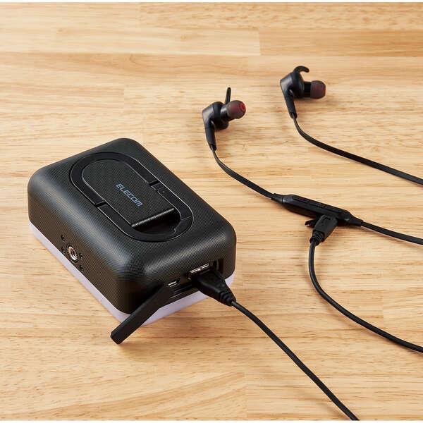 モバイルバッテリー 防災 LED付 ELECOM  エレコム 6700mAh ブラック  DE-M21L-6700BK 【新品】