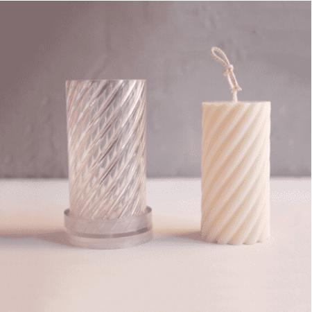 円柱 スパイラル型 韓国キャンドルモールド ポリカーボネート