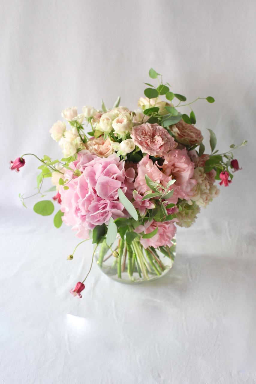 桃玉 tougyoku レディライクなピンクグラデーション pink gradation [bouquet with vase 3L size] #002