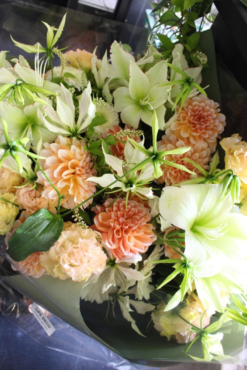 杏 anzu 爽やかな暖色系のギフトブーケ warm-colored gift bouquet [Bouquet 2L size] #002