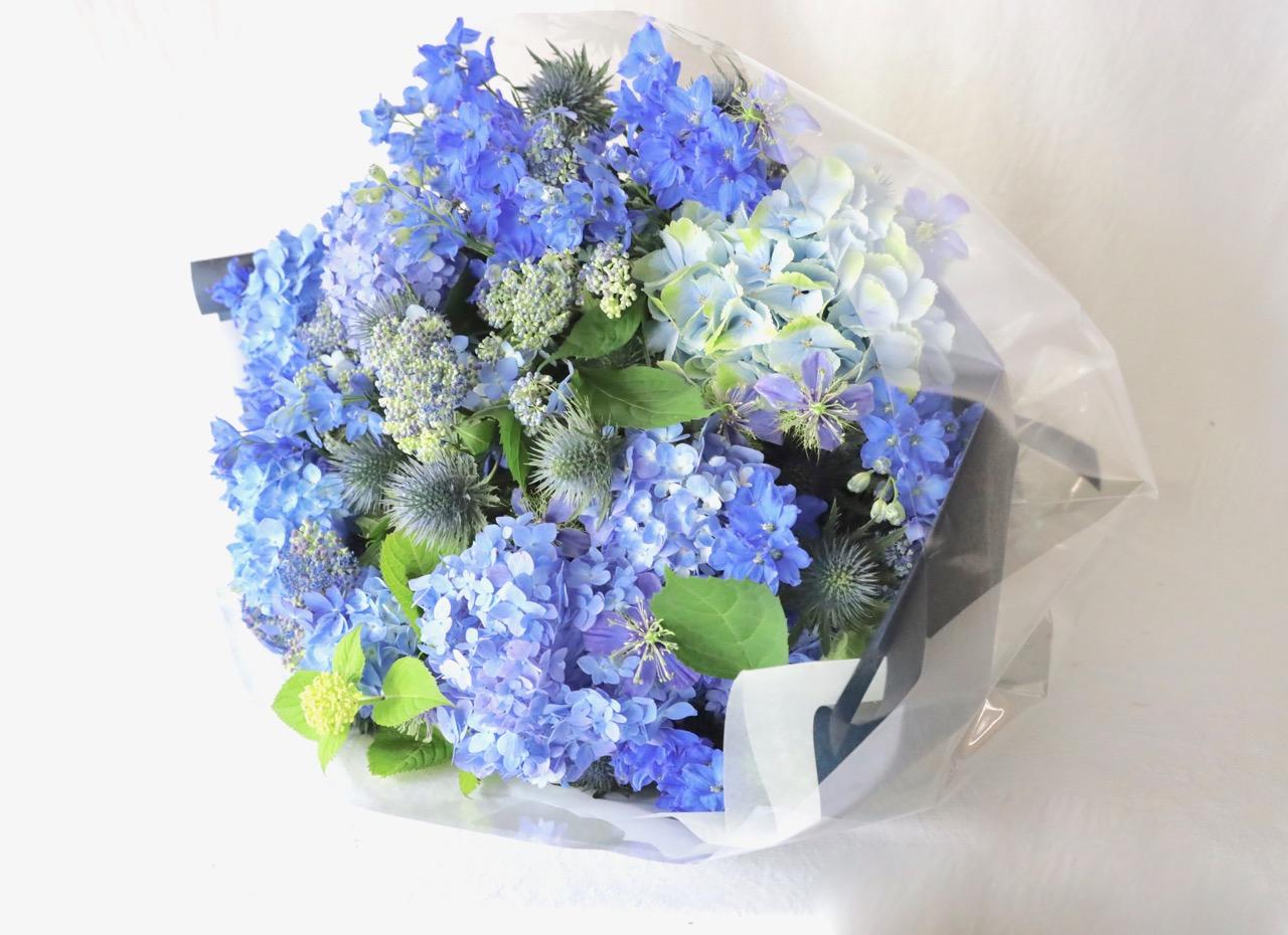 青 ao 6月の花 アジサイとデルフィニュウム [June flower] [Bouquet 2L size]  #002