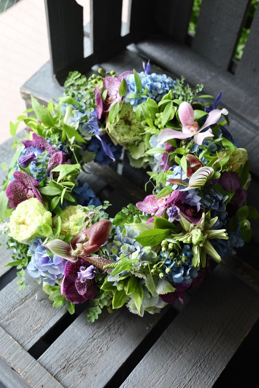 碧海 hekikai 6月の花 季節限定の青色ハイドランジア [June flower] [Flower wreath 38cm] #002