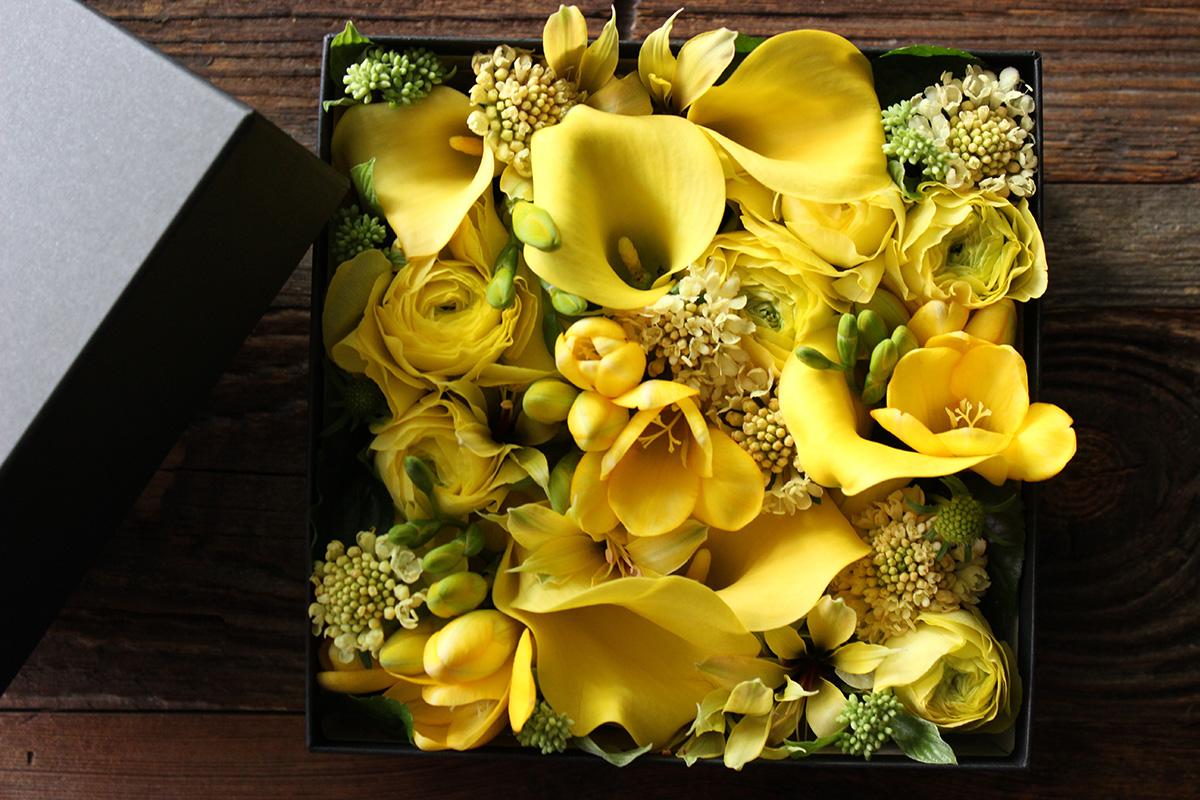 雄黄 yuuou  光の象徴と言われる黄色のミックスカラー  [Box Flower 24cm] #002