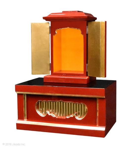 【祈りの空間】朱塗り 角厨子8号と幅30センチの一間仏像台セット 国内自社工場制作(商品番号10191s)(受注生産品)