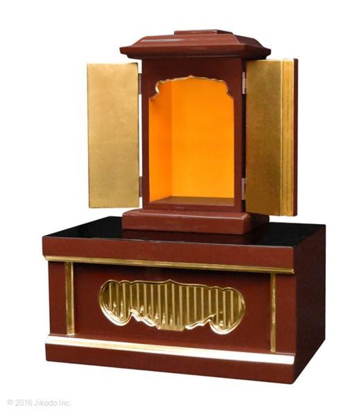 【祈りの空間】潤み塗り 角厨子8号と幅30センチの一間仏像台セット 国内自社工場制作(商品番号10191u)(受注生産品)