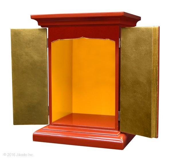 【祈りの空間】朱塗り 高さ36センチの本格的小型仏壇 厨子型タイプ 国内自社工場製作品(受注生産品)(商品番号11174s)【高級木製仏壇・国内産仏壇・オーダーメイド】