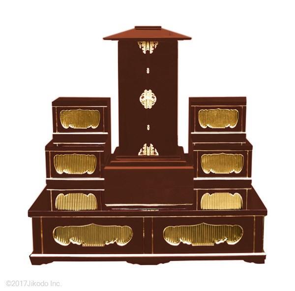 【寺院仏具】潤み塗り 厨子壇セット 厨子1台 中央厨子台1台、左右雛壇2台,大型壇の厨子台セット 安心の自社工場製作品 国産高級木製寺院仏具(受注生産品)(商品番号11195u)