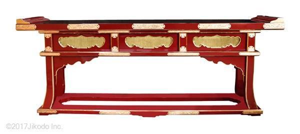 【寺院仏具】 朱塗り 高級前机5尺(背低タイプ) 焼香机、導師机、供物台にも。 国内自社工場製作品(受注生産品)(商品番号10046s)
