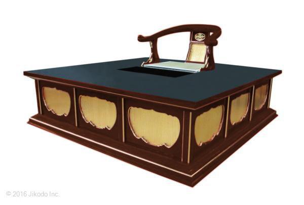 【寺院仏具】潤み塗り椅子式 背高二畳台 幅150センチ 国内自社工場製作 木製高級寺院仏具通販(受注生産品)(商品番号11251u)