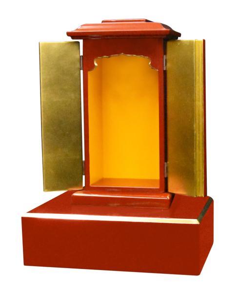 【受注生産品】朱塗り 角厨子11号と幅30センチの面金仏像台 2点セット 木製仏具 国内自社工場制作品(商品番号11229s)