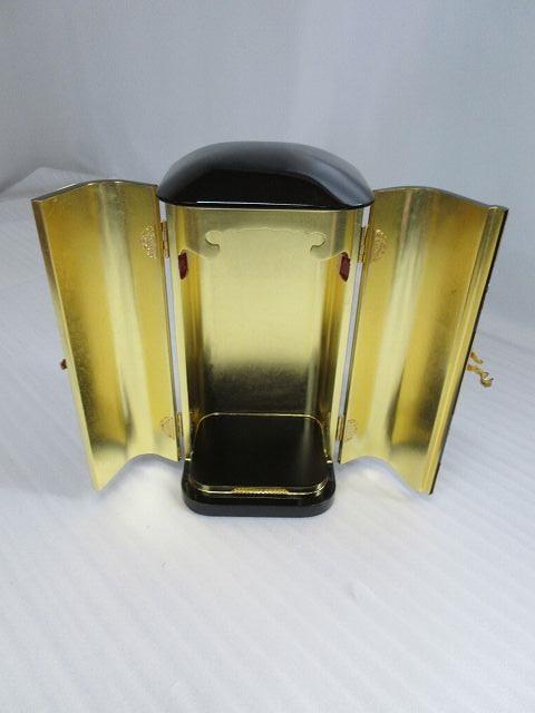 【特別販売品】黒塗り 金具付き丸厨子 NO.4(内寸幅15cm高29.5cm奥12cm)長期在庫品の為、特価セール価格 高級仏具通販 管理番号「4059」