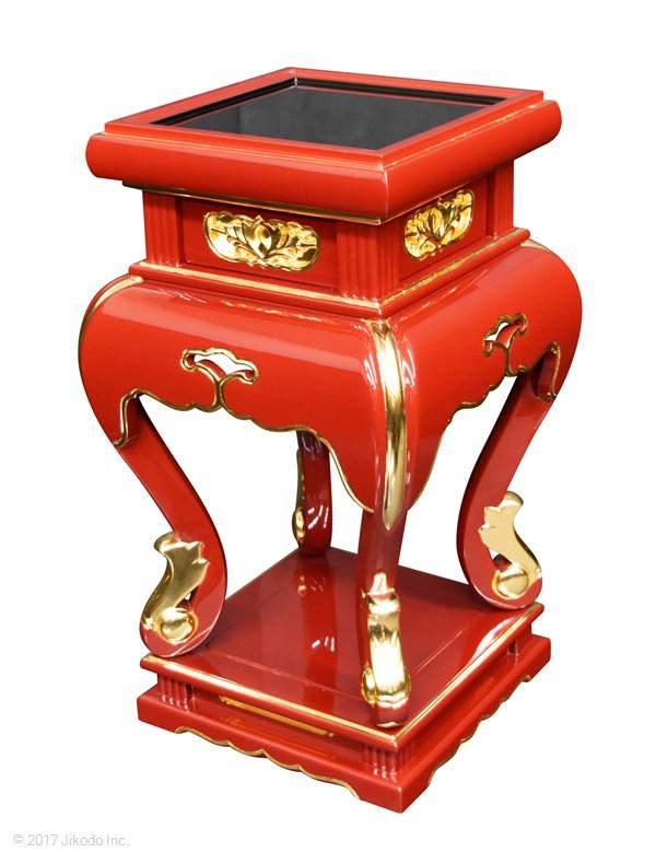 【寺院仏具】高さ2尺3寸 高級中央香台 黒塗り(職人1人1人手作りの為、アール曲線、彫等多少変わります。画像は見本です)(受注生産品)(商品番号10051k) (受注生産品)