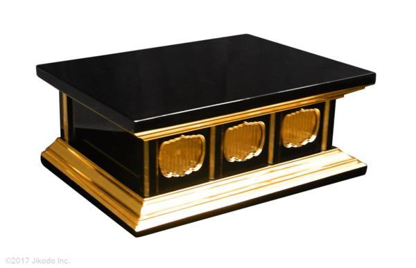 【寺院仏具】黒塗りの厨子台・須弥壇 3台セット 幅84cm1台と幅75cm2台 国内自社工場で製作 国産高級木製品 (受注生産品)(商品番号11196k)
