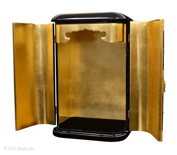 【受注生産品、限定サイズの特価品】黒塗りの丸厨子 金具付き 高さ60センチ 国内自社工場で製作品 (商品番号mu006k)