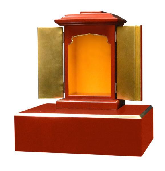 【受注生産品】潤み塗り 角厨子8号と幅30センチの面金仏像台 2点セット 木製仏具 国内自社工場制作品(商品番号11233u)