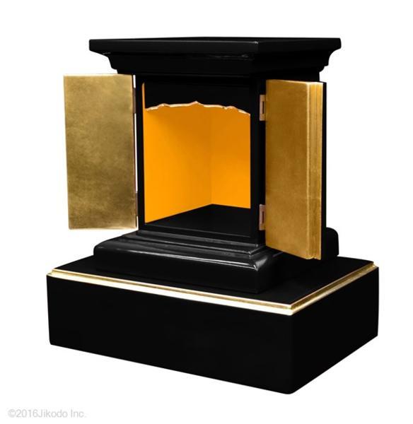 【受注生産品】黒塗り 高さ24センチの本格的小型仏壇 厨子型タイプ 台付き 木製仏具 国内自社工場制作品(商品番号11234k)