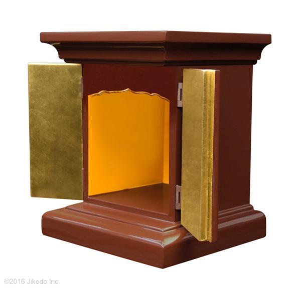【受注生産品】潤み塗り 高さ24センチの本格的小型仏壇 厨子型タイプ 台付き 木製仏具 国内自社工場制作品(商品番号11234u)